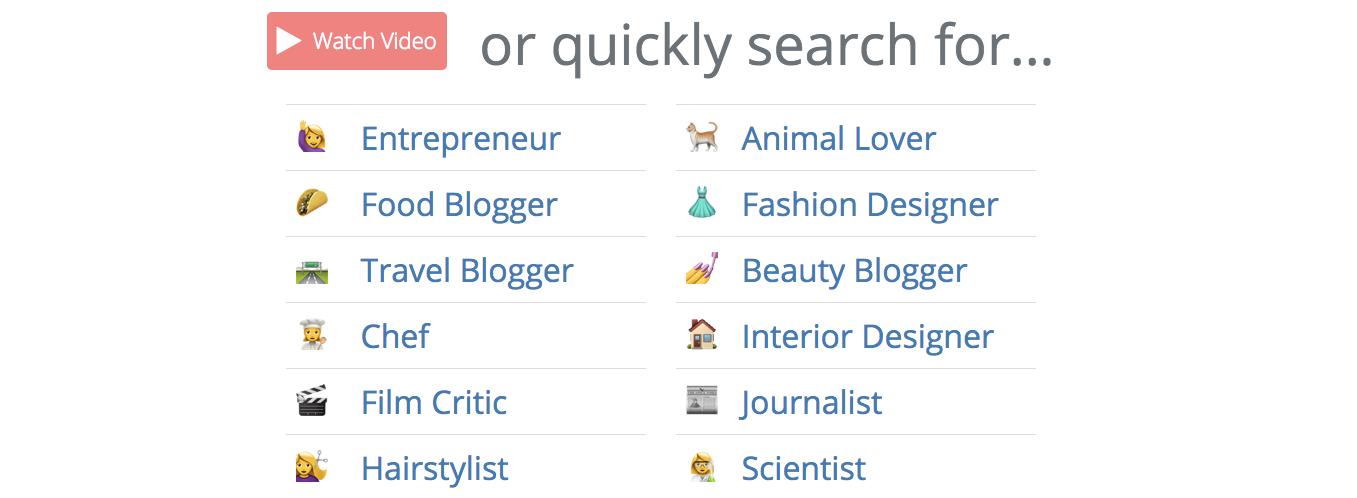 Tweeple Search sélection de catégories