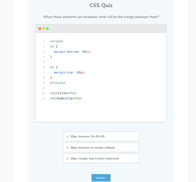 Css Quiz First Question